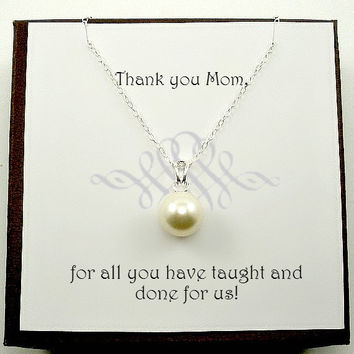 Mommy Necklace with Gift Message, Gifts for Mom, Thank you Mother Card, Mother Present, Gifts for mother, Mother in law, Mother of groom
