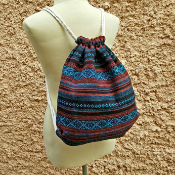 Backpack Tribal Festival Boho Drawstring bag Folk Ethnic Ikat Woven fabric Hippie Style Rucksack Gypsy Tote Bohemian Hipster Native Blue red