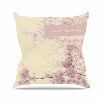 "Robin Dickinson ""Hello Beautiful"" Pink Typography Outdoor Throw Pillow"