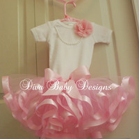 Ribbons and Pearls  -Satin Ribbon Trim Tutu Outfit