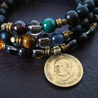 Men's Seven Chakra Mala Necklace or Wrap Bracelet - Mahatma Gandhi Coin - Yoga, Buddhist, Meditation, Prayer Beads, Jewelry