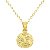 18k Gold Plated Guardian Angel Medal Necklace Newborn Baby Infant Birth Gift 16""