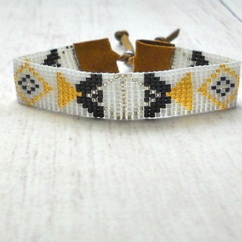Geometric Bracelet - Beaded Bracelet - Adjustable Bracelet - Women's Bracelet - Beaded Jewelry - Bracelet Beaded - Beadwoven Bracelet