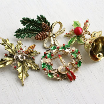 Vintage Christmas Brooch Lot - 4 Enamel Costume Jewelry Pins - Bell, Holly, Wreath, Candle - Signed Gerry's / Holiday Cheer