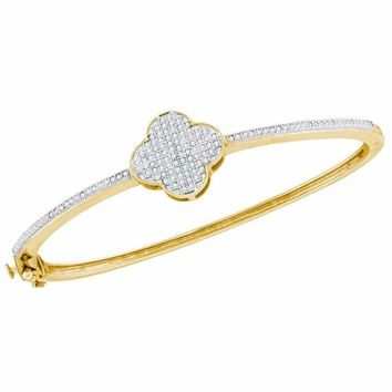 10kt Yellow Gold Women's Round Diamond Quatrefoil Cluster Bangle Bracelet 3-8 Cttw - FREE Shipping (US/CAN)