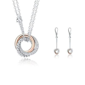925 Sterling Silver Rose Gold Plated Cubic Zirconia Love Knot Round Set: Drop Dangle Earrings and Pendant Necklace (Length: 50cm)