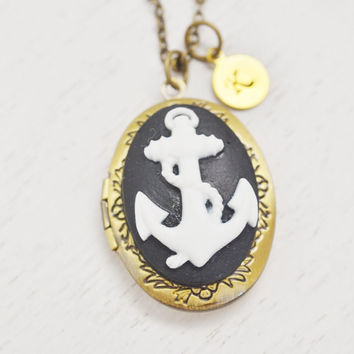 personalized anchor locket necklace,bridesmaid necklace,cameo locket,friendship necklace,initial necklace,bff jewelry,sailor gift,couples