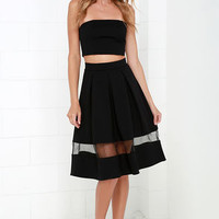 Double Up Black Strapless Two-Piece Midi Dress