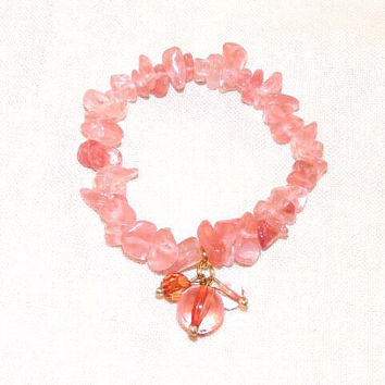 Stackable Stretchy Bracelet, Cherry Quartz Nuggets or Chips, Jewellery Elastic, small wrists, child, children