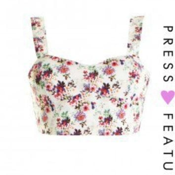LOVE Floral Ditzy Print Bra Top - Love