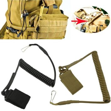 EDC Camping Equipment Tactical Elastic Stretching Rope Anti-theft Keychain Buckle Outdoor Secure Spring Lanyard Camp Tool Kit