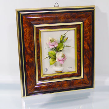 Wall Art Capodimonte Porcelain 3D Raised Floral Picture Vintage Capo di Monte Italian Home Decor Signed Framed Wall Hanging