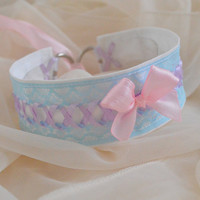 Candy princess - fairy kei pastel kawaii cute lolita neko girl kitten pet play - lilac lavender pink and blue lace collar