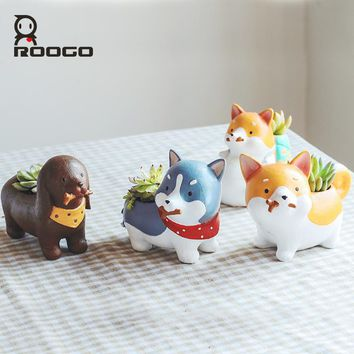 Roogo 6 Kind Creative Resin Flowerpot Kawaii Dog Garden Pots Planters Bonsai Desk Succulent Flower Pot Mix Order Dropshipping