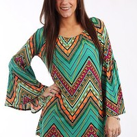 Native Chevron Tunic, Mint