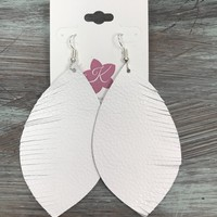 Feather Drop Leather Earrings in White