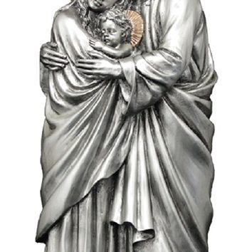 RELIGIOUS STATUE - FIGURE, A Veronese Holy Family 1 pc. statue in a pewter style finish with golden highlights, 11""