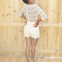 Lace It Up Lace Romper : Cream