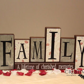 Family Wood Blocks Decor ~  A Lifetime of memories