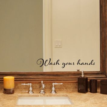 Wash your hands Decal - Bathroom decal - Mirror decal