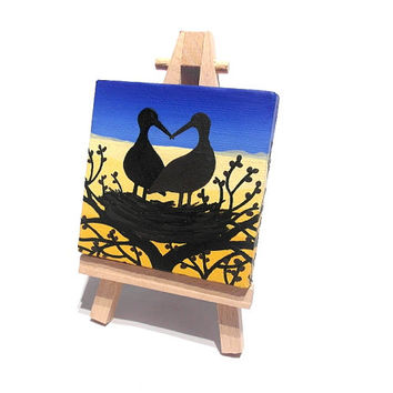 Storks of Peace, Love Ukraine - acrylic landscape painting on miniature canvas with easel