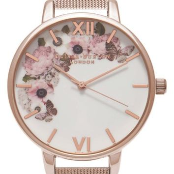 Olivia Burton Winter Garden Mesh Bracelet Watch, 38mm | Nordstrom