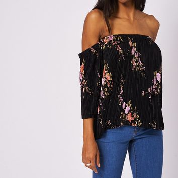 Black Pleated Off Shoulder Top With Floral Pattern