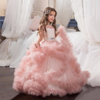 Blush Pink 2017 First Communion Dresses For Girls Ball Gown Cloud Beaded Luxury Kids Pageant Dress Prom Dress Vestido De Daminha