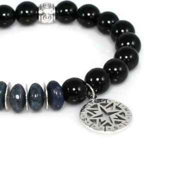 Compass Stretch Bracelet with Blue Dumortierite Rondelles