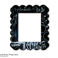 Fits 8x10 - Chunky Scalloped Black Wooden Whimsical Laser-Cut Frame -Chalkboard Frame- DORM Apartment KIDS Decor- Wood Picture Frame