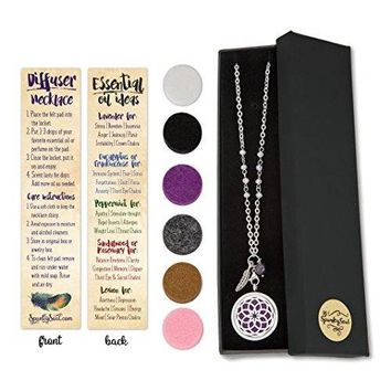 Dreamcatcher Essential Oil & Aromatherapy Long Diffuser Necklace with Dazzling Crystal Beaded Stainless Steel Chain, Feather & Amethyst Bead Charms | Use With Young Living & doTERRA Oils | SPUNKYsoul