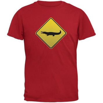 CREYCY8 Alligator Crossing Sign Red Adult T-Shirt