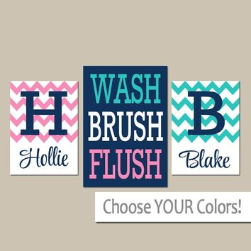 Brother Sister BATHROOM Wall Art, CANVAS or Prints, Boy Girl Bathroom, Personalized Name, Wash Brush Flush, Set 3, Kid Bath RULES Wall Decor