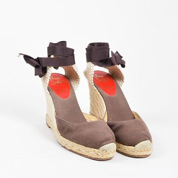 KUYOU Christian Louboutin Brown and Beige Canvas Round Toe  Bridgette  Espadrille Wedges