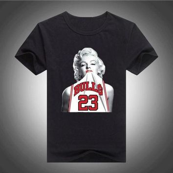DCCKHD9 Fashion Mens Tshirt Marilyn Monroe Wearing Michael Jordan T-shirt Mens 2017 New Model