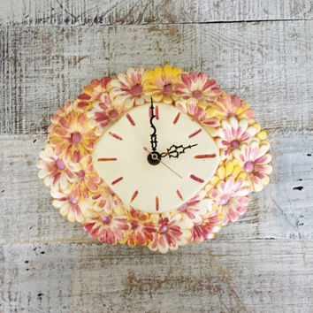 Wall Clock Mid Century Wall Clock Ceramic Clock Handmade Flower Clock Unique Wall Clock Retro Clock Grandma's Clock Cottage Chic Wall Clock