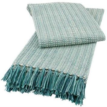 Soft Fringed Cotton Throw in Spa Teal