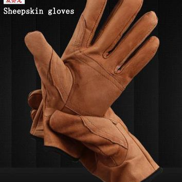 high quality sheepskin protection gloves Brown / white leather work gloves Wearable Tear resistant soft Comfortable gloves