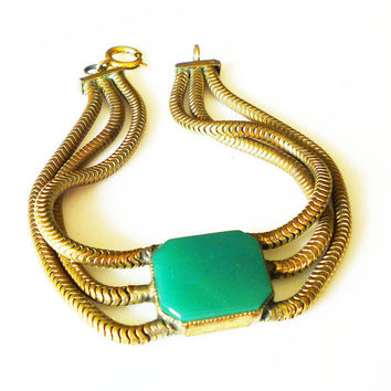 Art Deco Bracelet Green Chrysoprase Gold Tone Triple Serpentine Chain Egyptian Revival Antique Jewelry