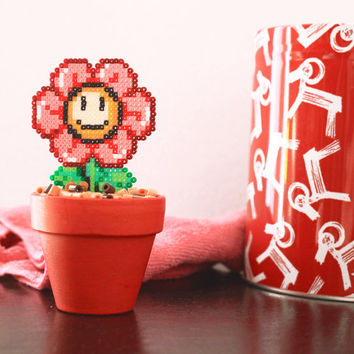 Super Mario Inspired Tiny Red Smiling Daisy. Kawaii, Cute & Colorful Flower.