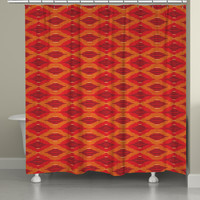 Orange Ikat Shower Curtain