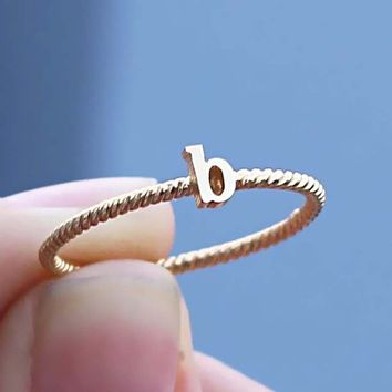 Stacking Initial Ring With Twisted Band - Initial Name Ring - Rope Band - Gifts - Silver Ring