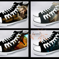 Custom Painted Hi Top Canvas Lord of the Rings Shoes