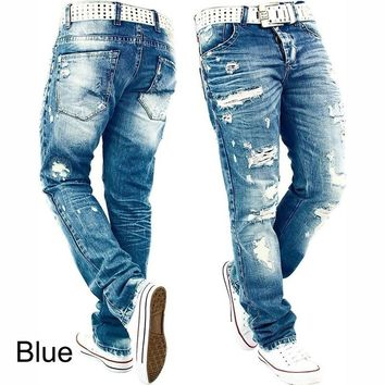 Men Ripped Skinny Distressed Destroyed Slim Fit Stretch Biker Jeans  Hip Hop Pants With Holes  Rock Jeans