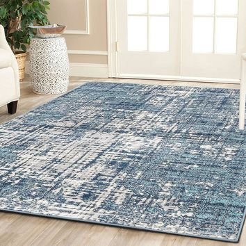 4645 Blue Distressed Oriental Area Rugs