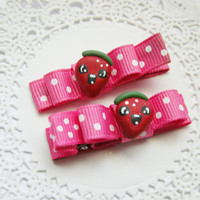 Baby Clips Strawberry Hair Clips Baby Bows for Babies Girls Teens and Adults Kawaii Fashion Pink Strawberry Bows