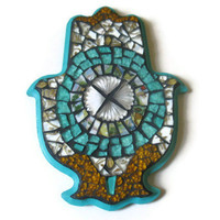 Hamsa Hand Glass Mosaic Wall Art Home Decoration Broken China Teal Gold White