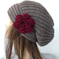 Hand Knit Hat- Womens hat - chunky knit Slouchy Beanie  Slouch  Hat Flower  Fall Winter Accessories  beret taupe Autumn Fashion