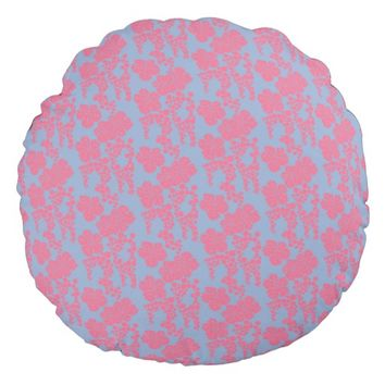 Japanese Floral Print - Pink & Purple Round Pillow