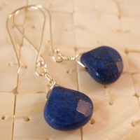 Christmas in July 30% Off, Blue Lapis Lazuli and Sterling Silver Earrings